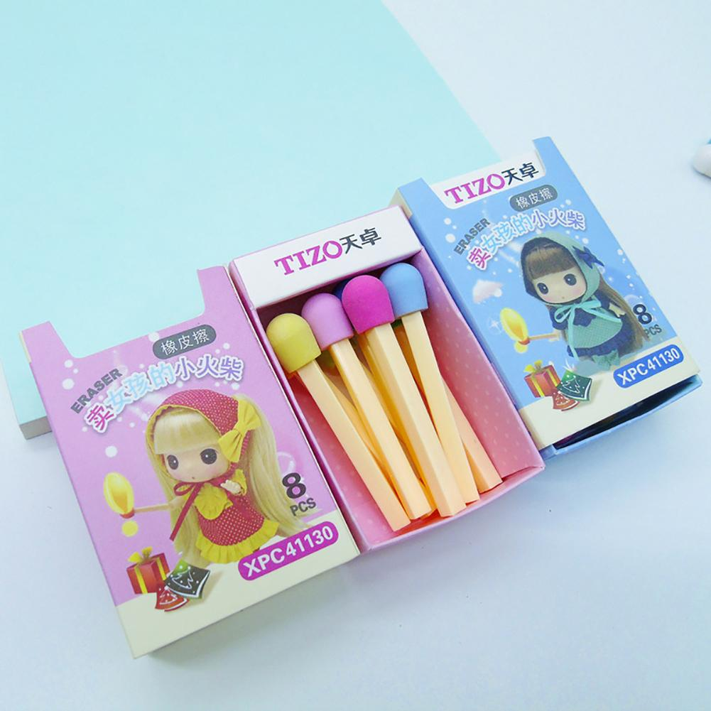 Cute Kawaii Matches Eraser Lovely Colored Eraser For Kids Students Kids Creative Item Gift Free Shipping