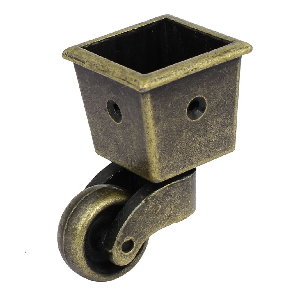 1-Inch Wheel Dia Swivel Square Cup Caster Bronze Tone for Chair Table fslh 10mm threaded stem 2 inch dia wheel chair swivel caster 5 pcs black