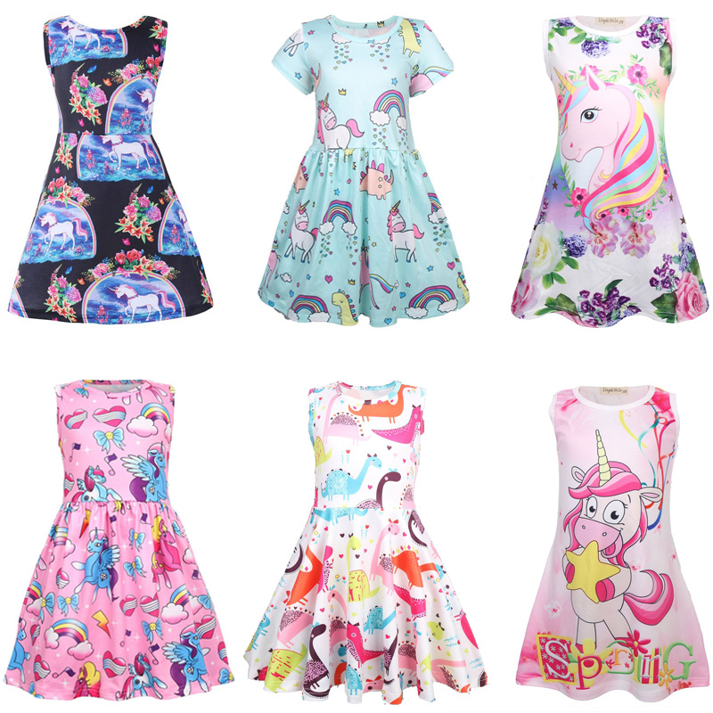 Children Clothing Vestidos My little Baby Flamingo Unicorn Party Girl Dress Kids Summer Dresses for Girls Clothes Princess Dress 2016 new free shipping retail princess dress girls baby kids children dresses for girl clothing summer dress little girl party