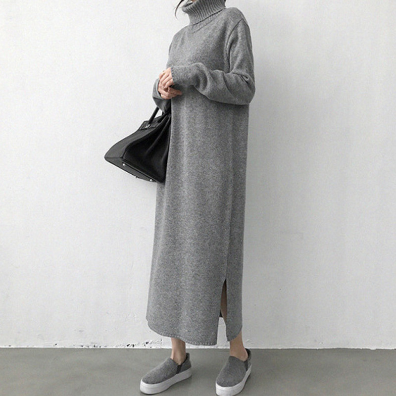 Women Split Turtleneck Pullover Knitted Dress Soft Casual Loose X-Long Woman Sweater Dresses 2019 Autumn Winter Knitwear Female