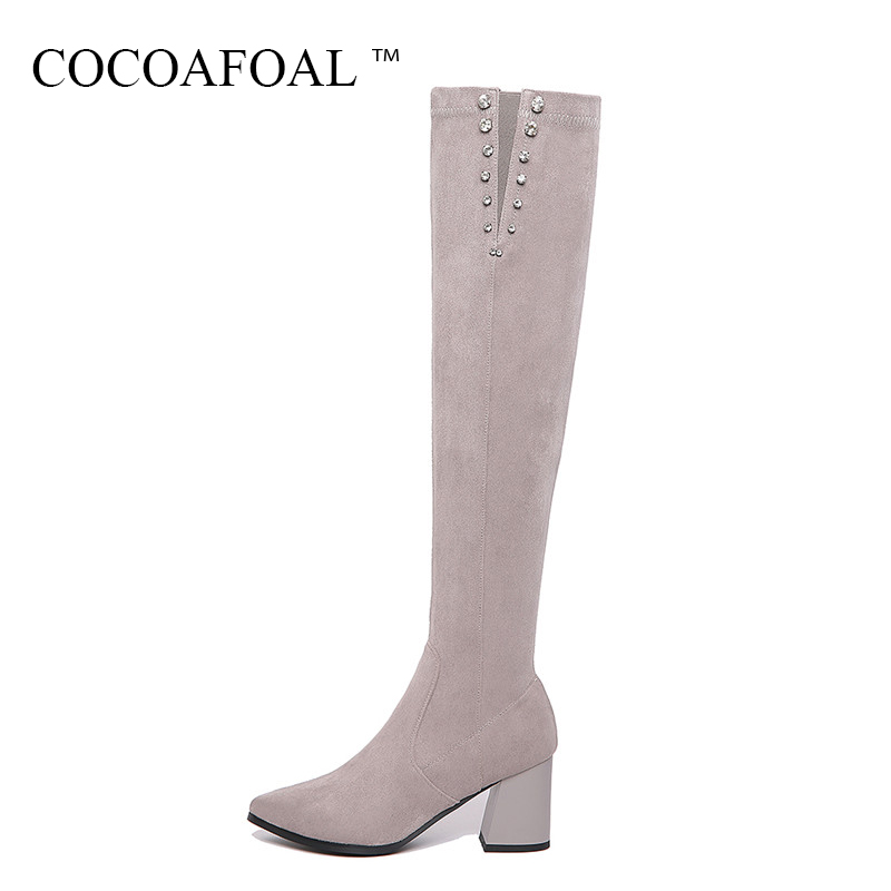 COCOAFOAL Genuine Leather High Heeled Over The Knee Boots Sexy Black Winter Women Shoes Plus Size 33 41 Crystal Thigh High Boots cocoafoal women sexy black high heeled shoes genuine leather thigh high boots plus size 33 41 winter chelsea over the knee boots