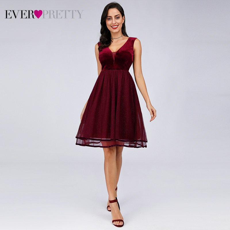 Sparkle Burgundy   Cocktail     Dresses   Ever Pretty EZ03074 Women's Sexy V-neck Sleeveless Chiffon V-neck A-line Robe De Cocktai