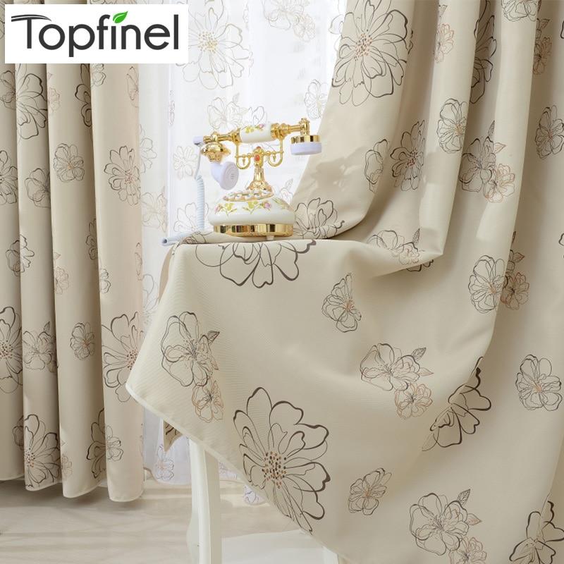 Topfinel Blinds Langsir Bunga Moden Mewah Langsir Langsir untuk Ruang Tamu Bilik Mandi Dapur Rawatan Tingkap Shading Panel