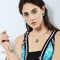 2002203235 - Viennois, pendientes de diamantes de imitación cuadrados de piedra azul de Color dorado, conjunto de joyería, fiesta de boda, Nueva joyería de mujer