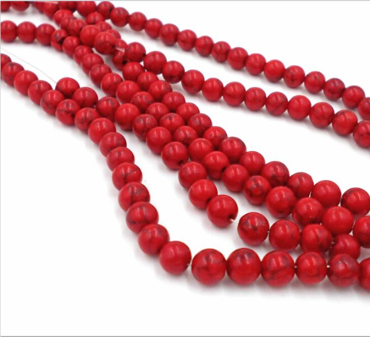 4MM 6MM <font><b>8MM</b></font> 10MM 12MM Bulk <font><b>Natural</b></font> Red <font><b>Stones</b></font> Round Spacer Loose <font><b>Beads</b></font> For Necklace Bracelet Charms Jewelry Making image