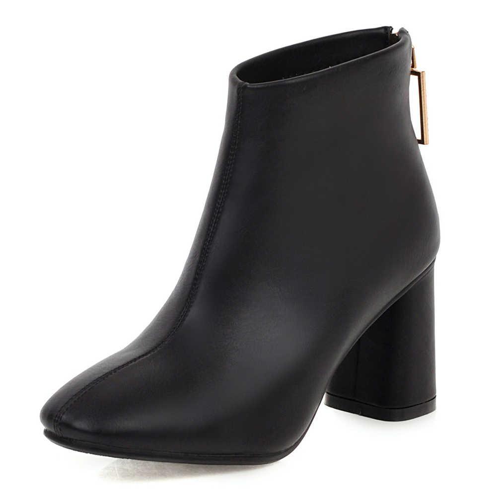 KARINLUNA Mới đến Plus Size 32-48 Chất Lượng Cao Chunky Gót Giày Nữ Giày Nữ Dây Kéo Đen Đỏ Giày người phụ nữ Giày