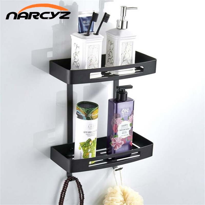 New style high quality 304 stainless steel matte black fan shaped corner double bathroom corner stand