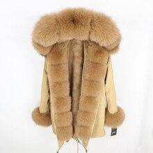 Женская парка с натуральным лисьим мехом OFTBUY, бежевое пальто с отделкой из лисьего меха, свободная длинная парка, верхняя одежда со съемным мехом, зима