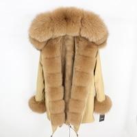 OFTBUY 2019 fashion winter jacket women real fur coat natural real fox fur collar loose long parkas big fur outerwear Detachable