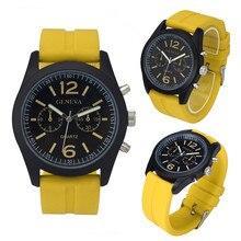 Новое поступление улучшенные Geneva модные унисекс высококачественные силиконовые Аналоговые кварцевые наручные часы relogio masculino feminino Прямая поставка