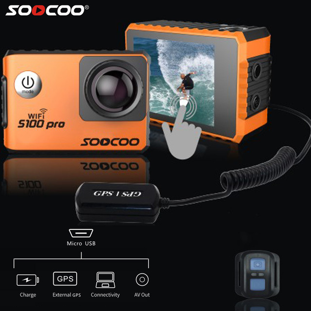 SOOCOO S100 S100 Pro Action Camera 4K NTK96660 Touch Screen 20MP 30M Waterproof Sports Cam Option GPS Gyro Image Stabilization soocoo s100 pro 4k wifi action video camera 2 0 touch screen voice control remote gyro waterproof 30m 1080p full hd sport dv