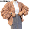 ChangYin Hollow Sweater Cardigan For Women Autumn Long Sleeve Knitted Loose Big Size Female Jumpers Open