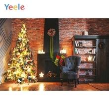 Yeele Vinyl Christmas Photography Backdrops Tree Brick Wall Fireplace Baby Kids Indoor Photographic Background For Photo Studio