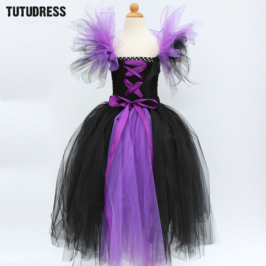 Black Purple Girl Tutu Dress Children Witch Halloween Cosplay Costume Tulle Dresses Kids Girl Carnival Fancy Party Dress Clothes black batman summer baby girl lace tutu dress bowknot kids halloween cosplay party dresses robe princesse fille children costume