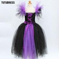 Black Purple Girl Tutu Dress Children Witch Halloween Cosplay Costume Tulle Dresses Kids Girl Carnival Fancy