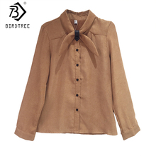 2018 Autumn New Arrival Women's Shirt Sweet Corduroy Full Sleeve Turn-down Collar Korean Style Tops Fashion Elegance T80420Q