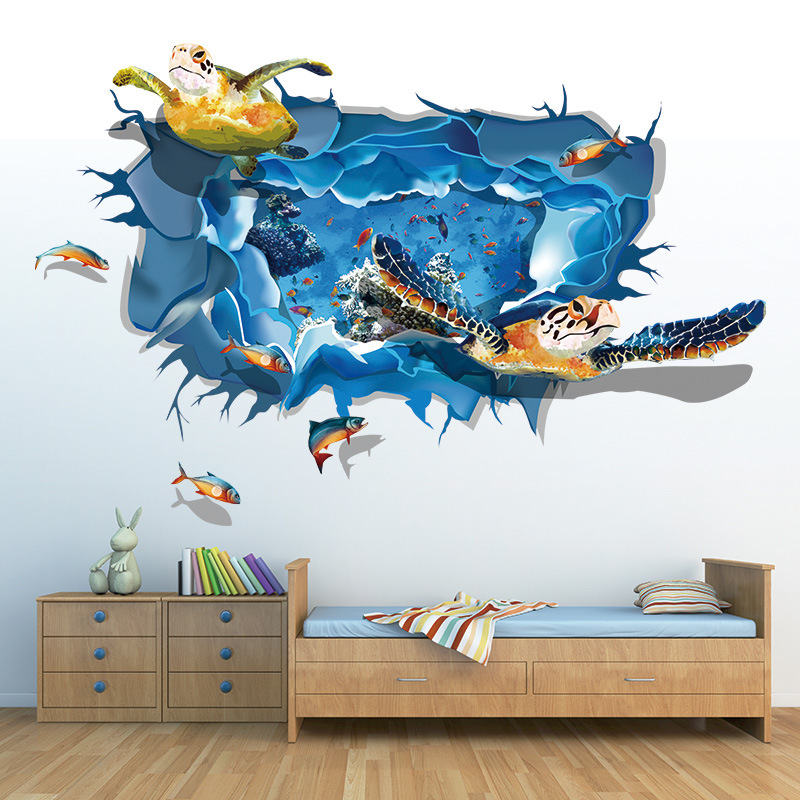 Aliexpress.com : Buy Brand New 3D Fish Turtle Sea World Animals Wall Sticker  Mural Art Posters Decor Vinyl For Living Room From Reliable Decorative  Vinyl ... Part 43