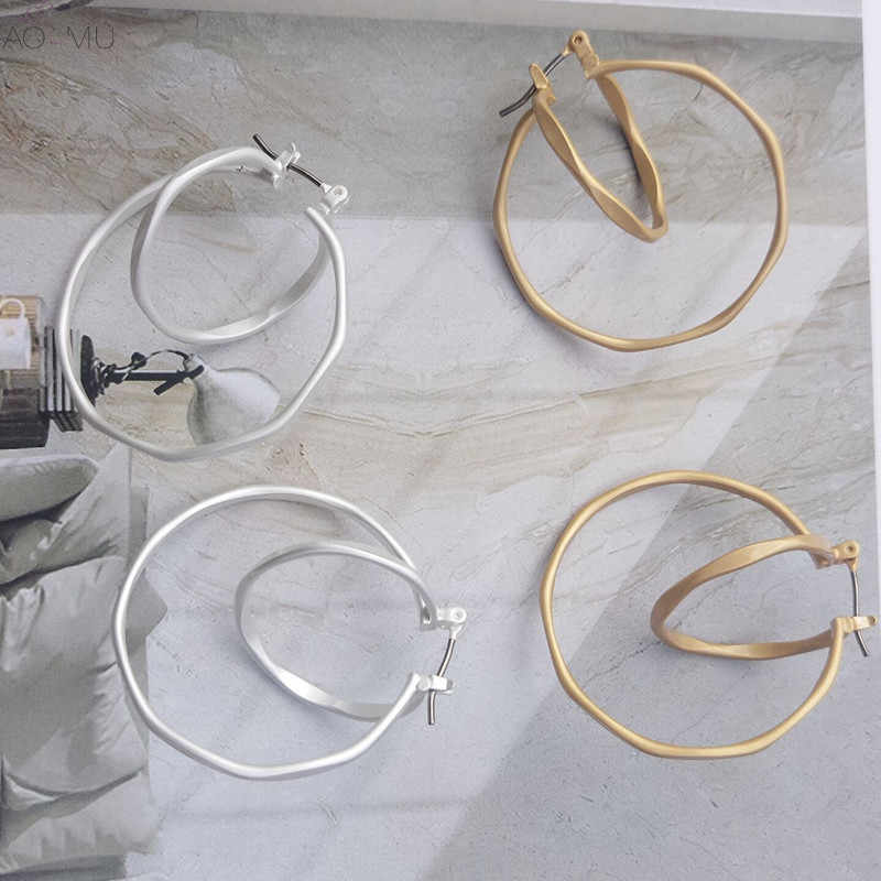 AOMU Korea Trendy Matte Gold Silver Alloy Geometric Double Circle Round Hollow Hoop Earrings For Women Girl Jewelry