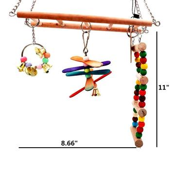 Parrot Toys Birds Ladders Wood Parakeet Toy Parrot Swings Wood Bridge Ladders Perches Stand for Small Birds Cage Accessories 3