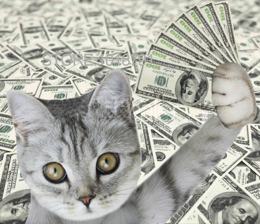 Cat With Cash Pattern Diamond Embroidery DIY Needlework 5D Diamond Painting Cross Stitch Full Drill Rhinestones Painting