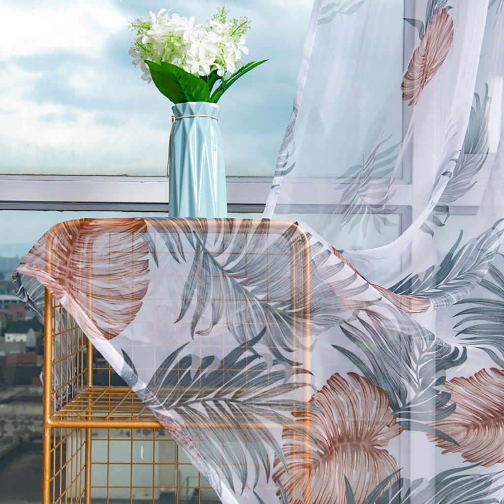 الأشجار شير الستار تول ورقة البني نافذة العلاج الفوال الستارة الستارة النسيج غرفة المعيشة غرفة نوم المطبخ الحديث 100x 200 سنتيمتر
