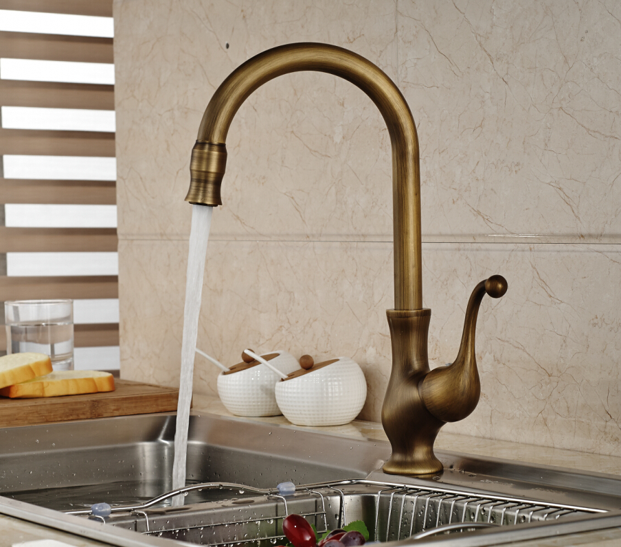 Euro Elegant Antique Brass Kitchen Faucet Swivel Spout Vessel Sink Mixer Tap Deck Mounted antique brass swivel spout dual cross handles kitchen