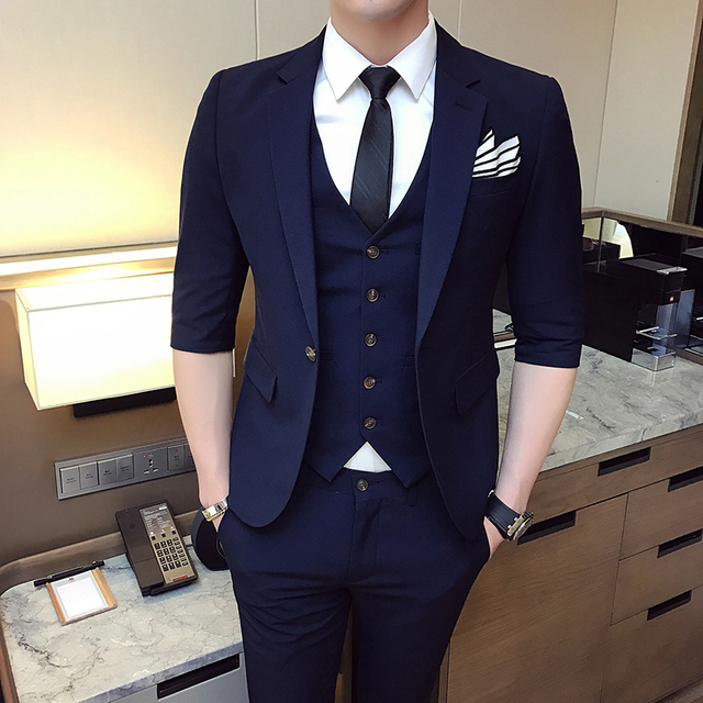 84f10d2cea93 MarKyi 2018 fashion half sleeve men suits and blazers slim fit good quality mens  designer clothes casual male suits size s-3xl
