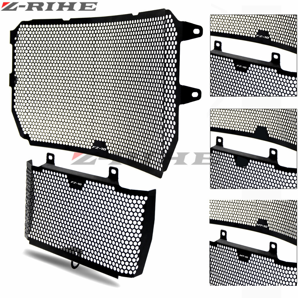 For YAMAHA MT-10 MT10 2016-2017 Motorcycle Accessories Radiator Grille Guard Cover & Oil Cooler Guard Cover Black FOR MT 10 logo the white guard