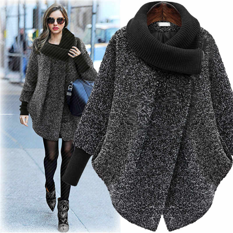 Large Size Women's Woolen Coat 2019 Autumn Winter Wool Coat Knitted Turtleneck Thick Cashmere Cloak Female Jacket Plus Size 5XL