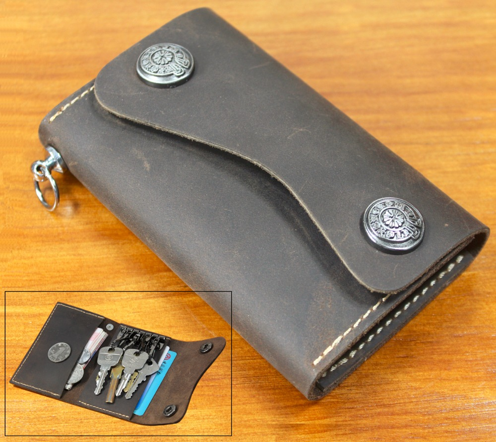 Handmade Vintage Women & Men Genuine Leather Key Wallet Men Leather Key holder Bag Leather Key Case Credit Card holder Purse