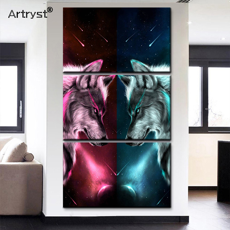 Abstract 3 Piece Red And Blue Wolf Canvas Painting With Frame Home Decor Animal Modular Poster Wall Art Picture For Living Room
