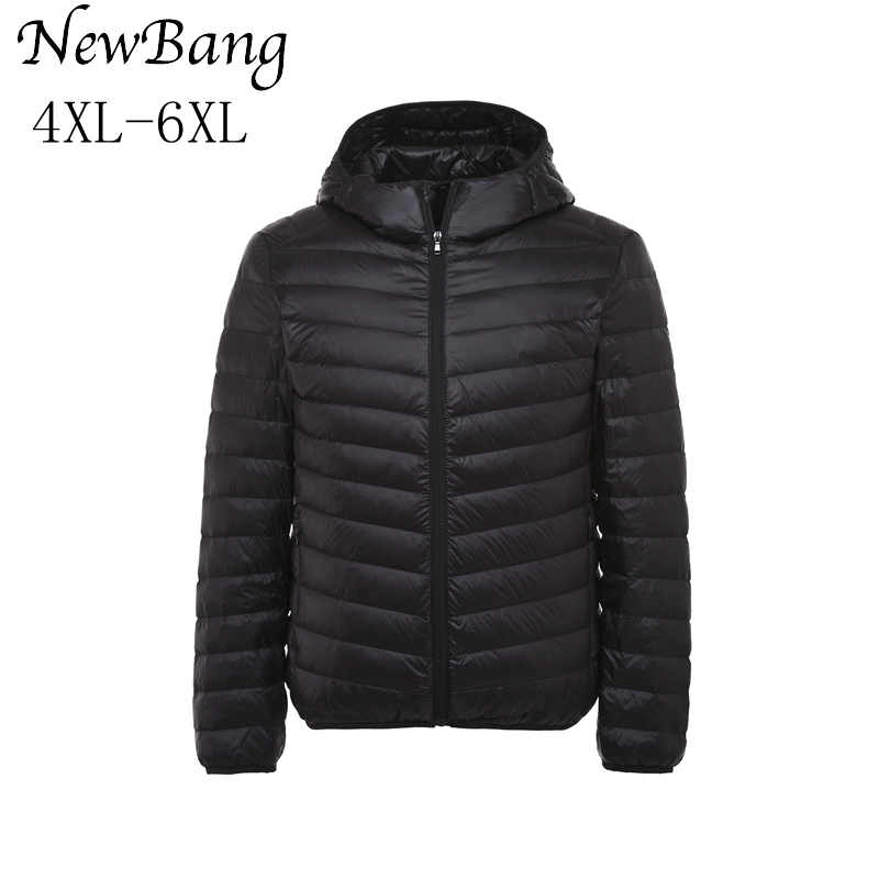 Honesty 4xl- 6xl Plus Women's Ultra Light Duck Down Jacket Largr Size Autumn Winter Hooded Down Overcoat With Carry Bag Good Heat Preservation