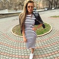 2017 new Summer Autumn Striped Women Dress Black&white Bodycon Short Sleeve fashion Casual Slim Pencil Dresses Plus Size C1012