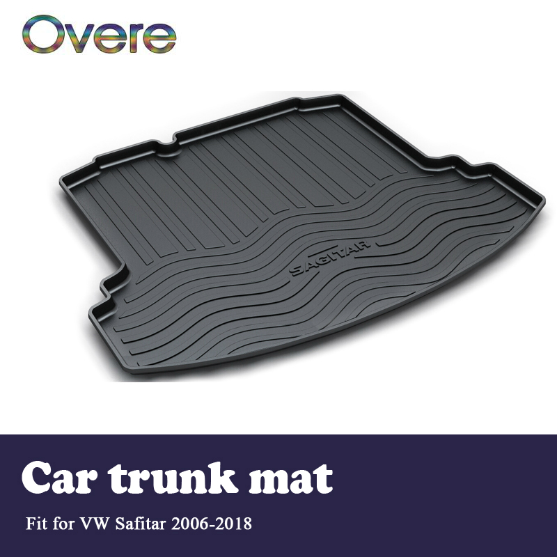 Overe 1Set Car Cargo rear trunk mat For VW Sagitar 2006 2007 2008 2009 2010 2011 2012 2013 2014 2015 2016 2017 2018 Accessories [eam] high quality 2018 autumn spliced organza loose lace up long section double layer collar plaid skirt fashion new set la406