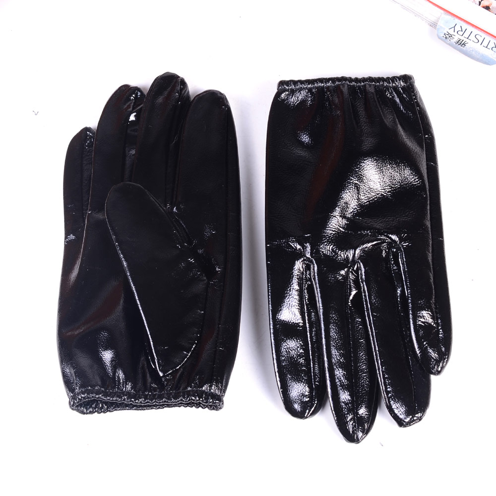Men's 100% Real Leather Shiny Black Patent Leather Unlined shrink Wrist Police Tactical Short GLOVES