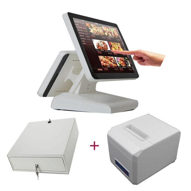free shipping white color pos system dual screen cash register 15 inch pos terminal with 80mm receipt printer cash drawer