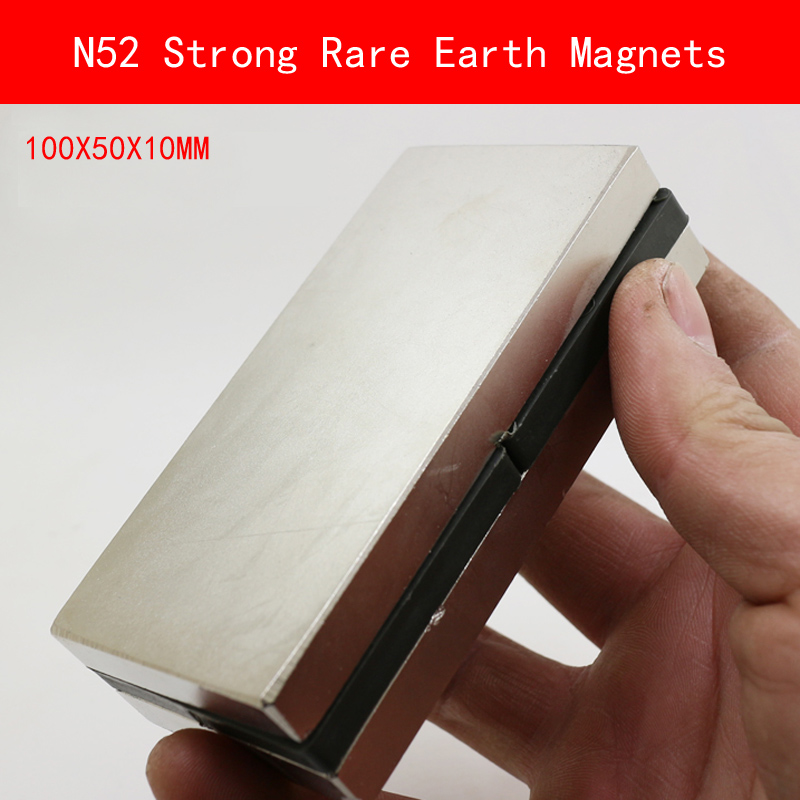 1PCS 100X50X10mm N52 Super Powerful Strong Rare Earth Magnet permanent N52 plating Nickel Magnets 100mm*50mm*10mm 1pcs sheet 100x50x5mm n52 super strong rare earth magnet permanent n52 ndfeb magnets 100 50 5mm