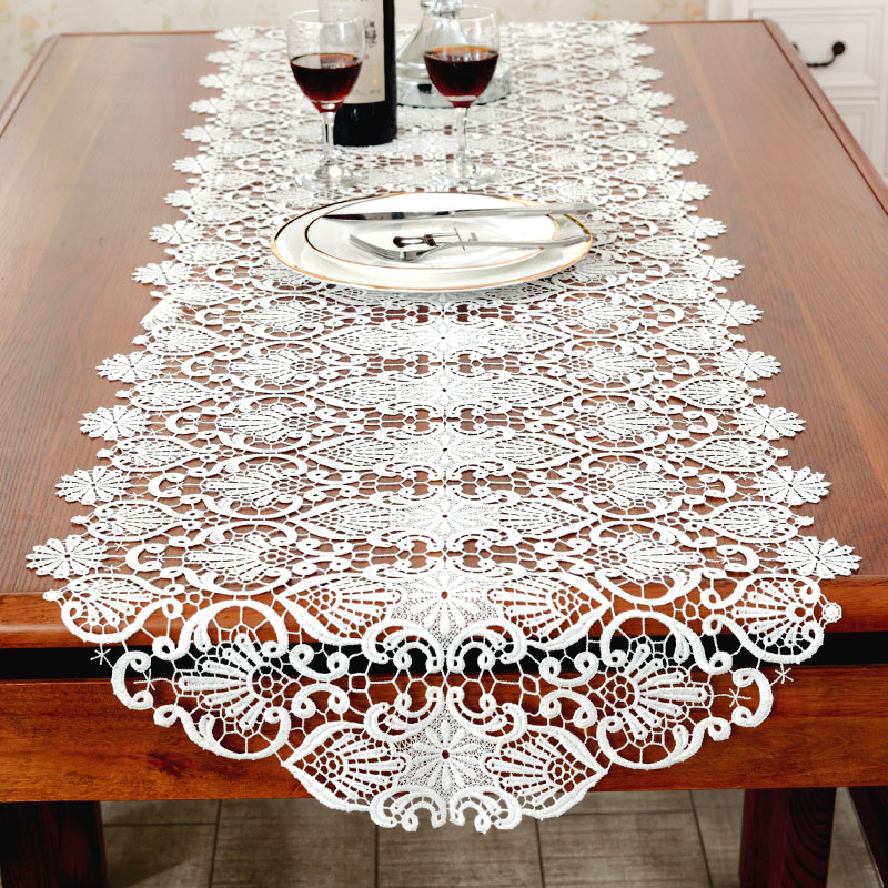 Home White Embroidered Table Runner Coffee Cloth TV Cabinet Table Flag Table Mat Mahogany Drawer Cover