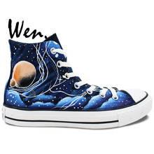 Wen Design Custom Hand Painted Shoes Blue Galaxy Tardis Doctor Who Man Woman's High Top Canvas Sneakers for Gifts