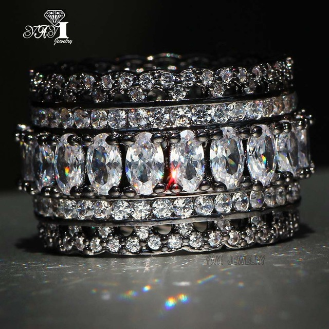 899414256c4f9 US $4.03 10% OFF|Aliexpress.com : Buy YaYI Jewelry Fashion Princess Cut  Huge 4.3 CT White Zircon Black Color Engagement Rings Set wedding Rings  Party ...