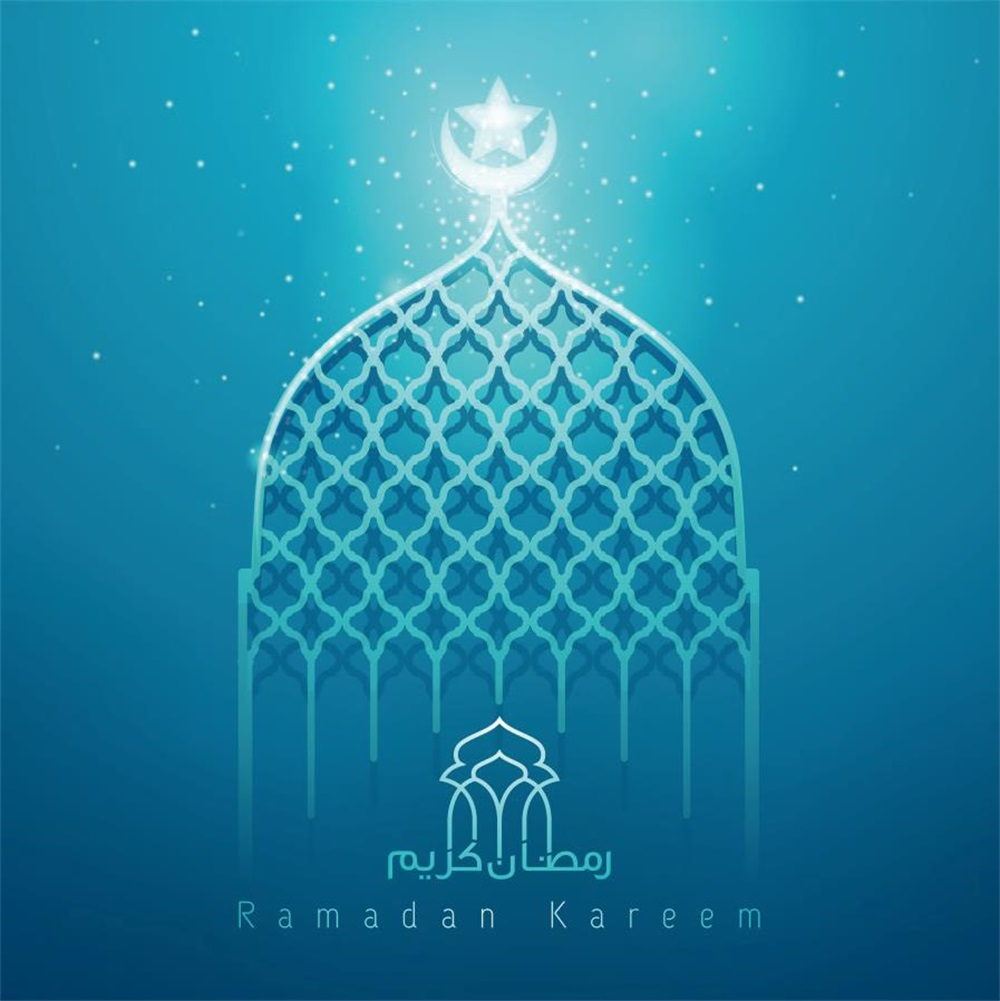 Laeacco Mosque Eid Mubarak Light Bokeh Moon Scene Photographic Backgrounds Customized Photography Backdrops For Photo Studio
