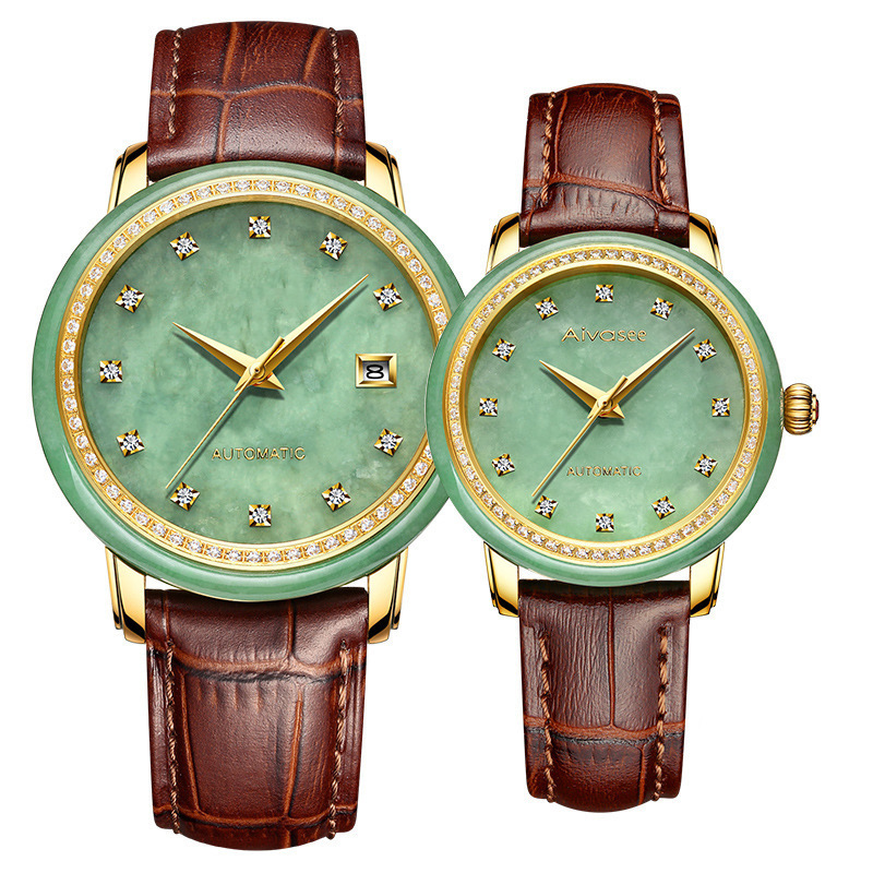2019 Gifts For Jade Watch Fashion Set Auger Lovers Automatic Mechanical Custom Wholesale Table Manufacturer