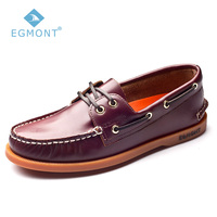 Egmont EG 09 Wine Red Spring Summer Boat Shoes Mens Casual Shoes Loafers Genuine oil Wax Leather Handmade Comfortable Breathable