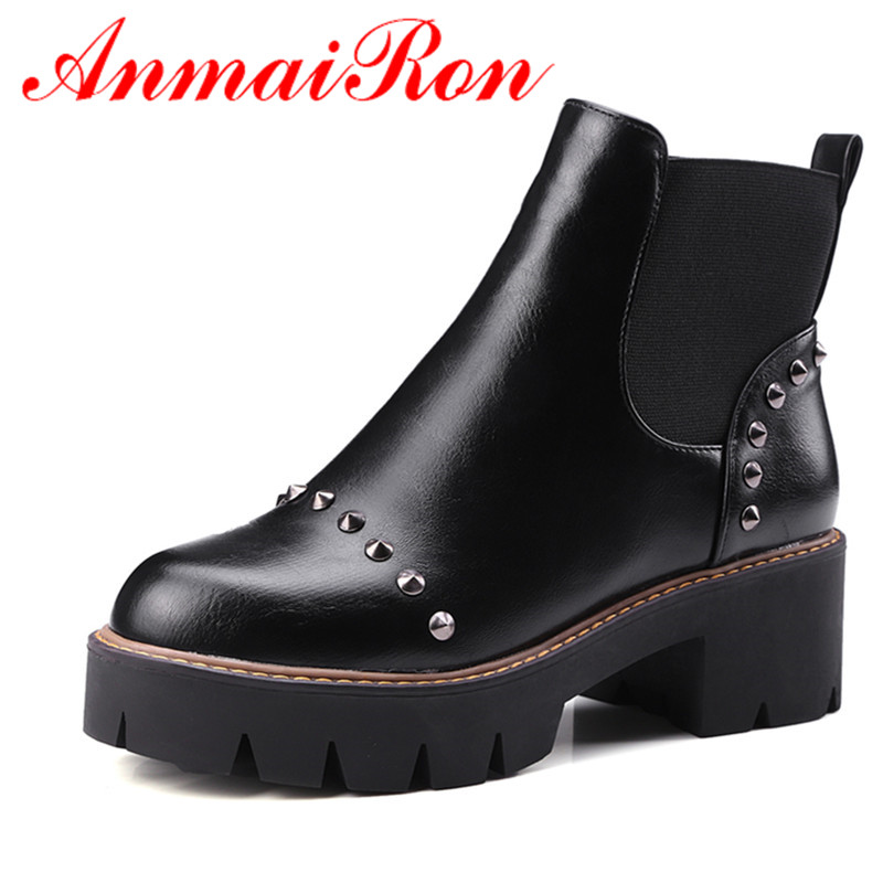 ANMAIRON Black Shoes Woman High Heels Rivtes Charms Large Size 34-43 Ankle Boots for Women Platform Winter Boots Round Toe Shoes enmayla ankle boots for women low heels autumn and winter boots shoes woman large size 34 43 round toe motorcycle boots
