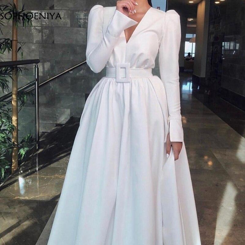Nouveauté col en V manches longues robes de soirée 2019 taffetas blanc robe de soirée musulmane robes de soirée abiti da cerimonia da sera
