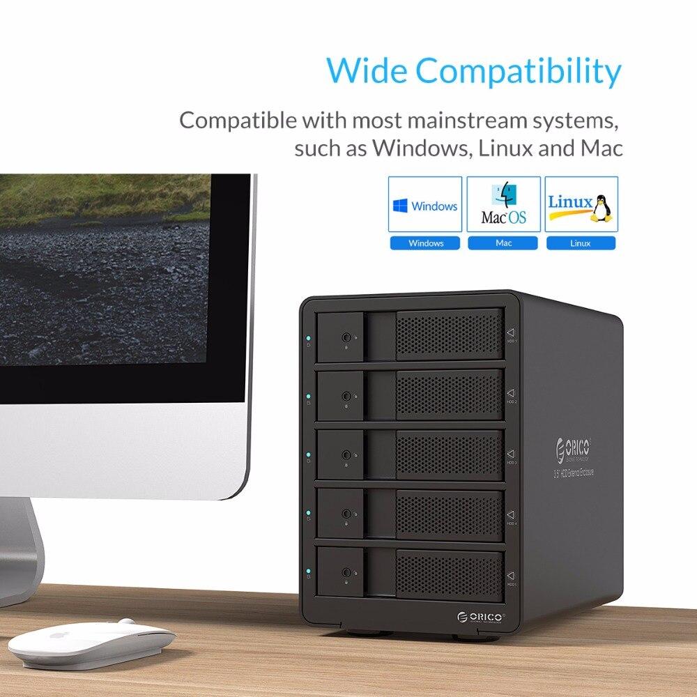 ORICO 9558RU3 5bay 3.5 USB3.0 SATA met RAID-functie HDD Aluminium - Externe opslag - Foto 6