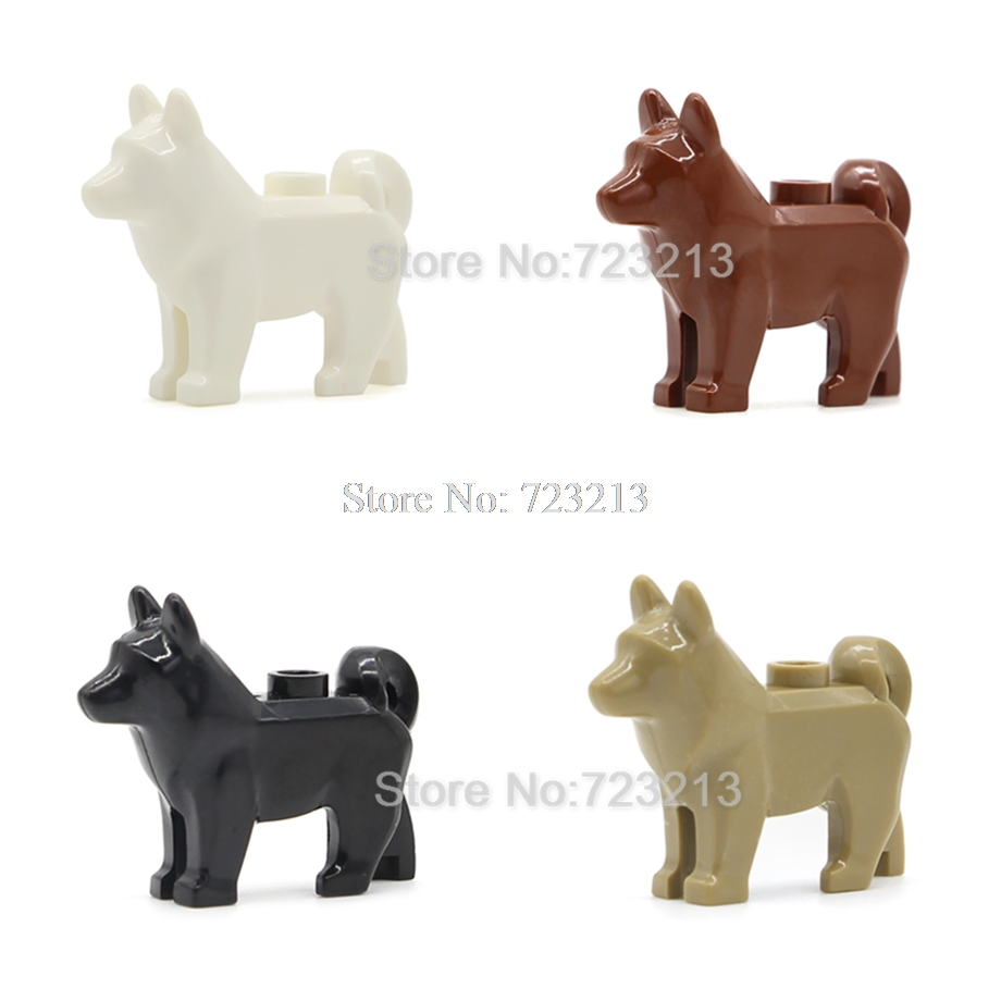 5pcs/lot Moc Police Dog Legoinglys Accessories SWAT MOC Husky Animal Military Model Building Blocks Brick Kits Toys For Children