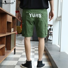 S-3XL Cotton Straight Stretch Cargo Shorts Men Drawstring Waist Letter Print Shorts Male Side Big Pockets Summer Trousers New