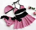 2017 Girls Pink Polka Dots Swimwear 4 Pcs Set Tankini Bather Beach Bikini Swimsuit Skirt 3-10Y Choose