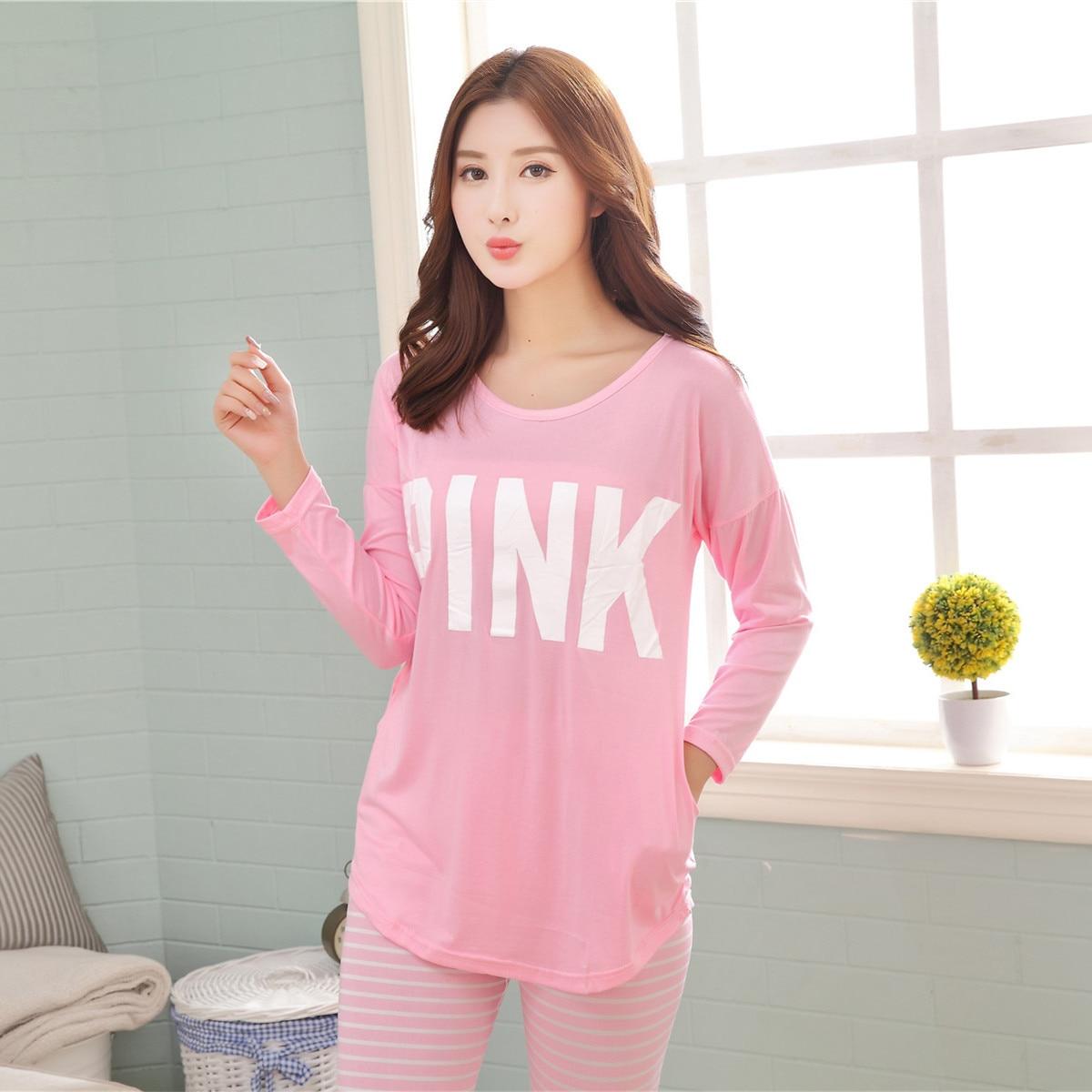 3c6bf8b86 Mujer de manga Larga pijamas Primavera y otoño Coreano plátano grande Doble  leche camisón de seda femenina ropa M XL en Conjuntos de pijamas de ...